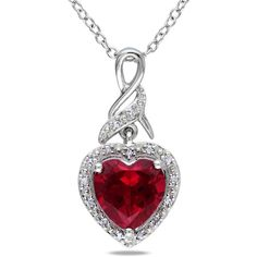 Miadora Sterling Silver Created Ruby and Diamond Accent Heart Necklace ($66) ❤ liked on Polyvore featuring jewelry, necklaces, red, red necklace, ruby heart necklace, sterling silver necklace, ruby heart pendant and heart necklace