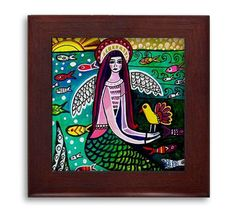SALE ENDS Today- Hawaiian Mermaid Mexican Folk Art Ceramic Framed Tile by Heather Galler - Ready To Hang Tile Frame Gift