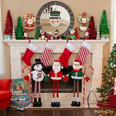 Warm their hearts with a holly jolly mantel display! Fill the space with a standing snowman, Santa Claus & elf! Hang up stockings & line the mantel with glitter trees for accent!