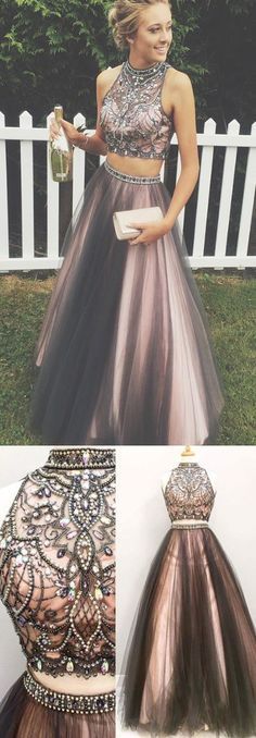 Two Piece Grey Prom Dress - High Neck Sleeveless Floor Length with Beading