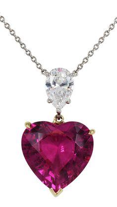 8.35ct Heart Shape Pink Tourmaline & Diamond Necklace