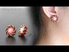 (50) How to make beaded stud earring. Spiral earrings - YouTube Seed Bead Crafts, Seed Bead Jewelry, Beading Jewelry, Women's Jewelry, Vintage Jewelry, Jewelry Making, Earrings Handmade, Handmade Jewelry, Earring Tutorial