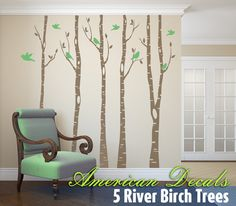 TREE SALE 5 Birch Trees Wall Decal Forest Living by AmericanDecals, $64.99