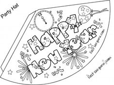 print out happy new year party hat coloring for kids printable coloring pages for kids