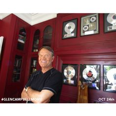 Glen at home with his gold and platinum Glen Campbell, Movie Releases, Country Music, Couple Photos, Singers, Movies, Royalty, October, Gold