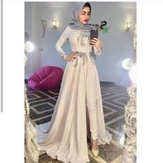 Image may contain: 1 person, standing Jumpsuit Prom Dress, Hijab Prom Dress, Hijab Evening Dress, Grey Prom Dress, Prom Dresses With Sleeves, Bridesmaid Dress, Jumpsuit Hijab, Hijab Chic, Hijab Fashion Summer