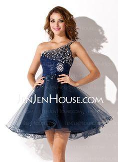 Homecoming Dresses - $129.99 - A-Line/Princess One-Shoulder Short/Mini Satin  Tulle Homecoming Dresses With Ruffle  Beading (022011222) http://jenjenhouse.com/A-line-Princess-One-shoulder-Short-Mini-Satin--Tulle-Homecoming-Dresses-With-Ruffle--Beading-022011222-g11222