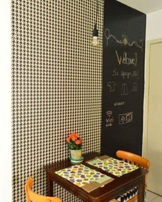 Papel de parede pied de poule, parede lousa , decoração