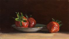 Still Life with Strawberries and Gold Rimmed Saucer Julian Merrow-Smith