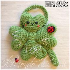 """Portafortuna da culla/cameretta personalizzato, #crochet #uncinetto #amigurumi, realizzato con filato """"Zara Plus"""" Filatura di Crosa Italia"""
