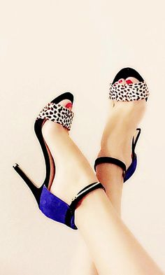 Suede and animal-printed haircalf high heels with ankle straps