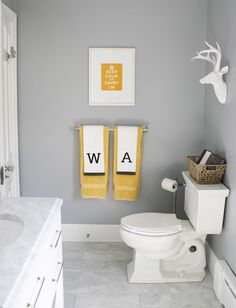 Gray, White and Ywllo Colors Scheme in Modern Family Bath | Save Water & Money with Every Flush!™ | https://ToiletSaver.com | Toilet Saver is a simple, inexpensive, ingenious product that reduces the amount of water and money that toilets waste with every flush. | Installs in minutes & does not affect the flush! | Less than $4 per toilet!