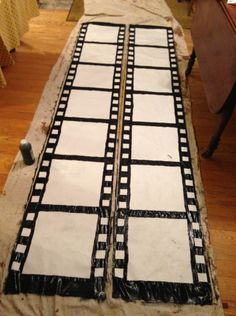 How to make film strip decortations. Full party at thelittlethingsdiy.com homamade diy Oscars Academy Awards Party