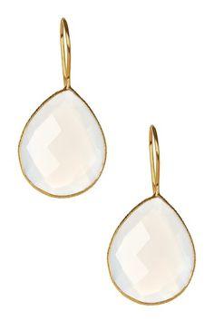 White Moonstone Teardrop Earrings on HauteLook