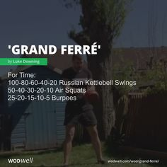"""Grand Ferré"" WOD - For Time: Russian Kettlebell Swings; Wod Workout, Dumbbell Workout, Boxing Workout, Street Workout, Wods Crossfit, Crossfit At Home, Kettlebell Training, Kettlebell Swings, Fit Board Workouts"