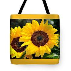 "Happy Sunflowers Tote Bag 18"" x 18"""