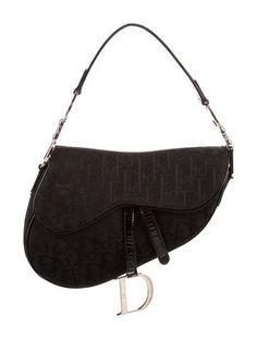 ddb548f0deb Black Diorissimo canvas Christian Dior Saddle bag with silver-tone hardware,  black patent leather
