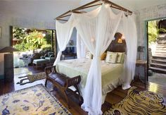 A bedroom in the home of David Bowie in Mustique