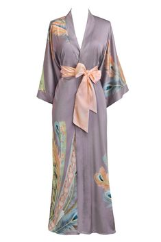 Thought Solar Winds Silky Kimono Throw in Solar Palms size L