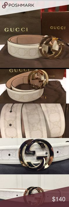Gucci white monogram belt size 95 Gucci white monogram belt size 95 Fits 32/34 waist  New belt never worn Interlocking gold GG buckle Great for suit pants and jeans Comes with tags, box, shopping bag and dust bag !! Gucci Accessories Belts