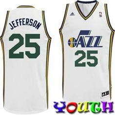 NBA Utah Jazz Al Jefferson Youth 820 Swingman Home Jersey Large White      See 8d77611b8