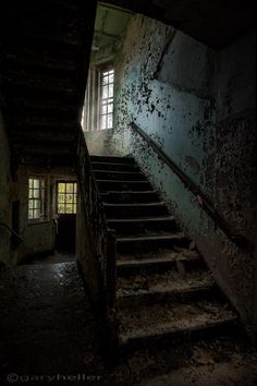 stairwell in building 138 - fine art photography print of a creepy stairwell in an abandoned asylum discovered through urban exploration..via Etsy.