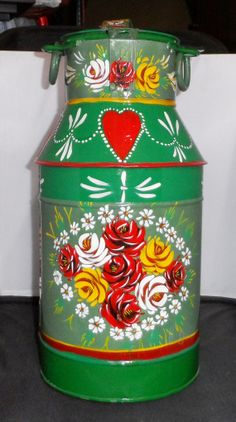 Items similar to Small Metal Milk Churn – hand painted with Canal Art Roses on Etsy - Metal Art Painted Milk Cans, Paint Cans, Boat Painting, One Stroke Painting, Painting Art, Folk Art Flowers, Flower Art, Canal Boat Art, Old Milk Cans