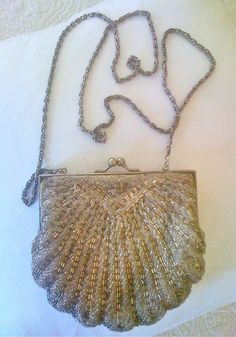 La Regale Beaded Shell Clutch.  Very Vintage Antique silvery cream.