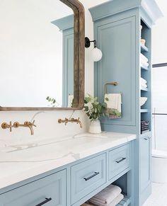 Home Decor Living Room Bathroom Inspiration // Studio McGee.Home Decor Living Room Bathroom Inspiration // Studio McGee Studio Mcgee, Bad Inspiration, Bathroom Inspiration, Beautiful Bathrooms, Modern Bathroom, Dream Bathrooms, Light Blue Bathrooms, Quirky Bathroom, Girl Bathrooms