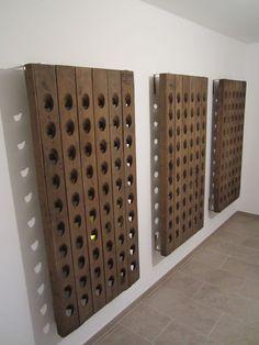 New Kitchen Storage Furniture Diy Dining Rooms Ideas Rack Pallet, Pallet Wine, Diy Storage Furniture, Rustic Furniture, Wine Rack Wall, Wine Wall, Wine Rack Inspiration, Riddling Rack, Unique Wine Racks