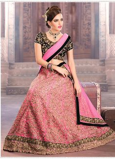 Pink With Black Netted A Line Lehenga Choli Online ,Veeshack.com | Fashion for the World - 1