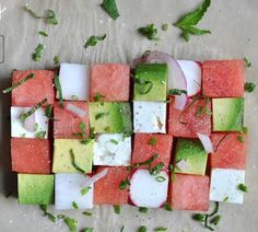 Summer watermelon salad - cubes of watermelon + avocado + feta + radish, topped with red onion, mint, and chives Avocado Dessert, Avocado Salad, Mint Salad, Avocado Oil, Watermelon And Feta, Watermelon Recipes, Avocado Recipes, Avocado Ideas, Guacamole