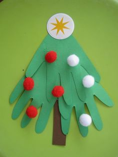 15 Incredibly-Fun Christmas Tree Crafts for Kids: Pom Pom Christmas Tree Craft for Kids