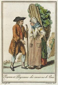 Costumes de Différent Pays, 'Paysan et Paysanne des environs de Paris.' Jacques Grasset de Saint-Sauveur (France, 1757-1810) Labrousse (France, Bordeaux, active late 18th century) France, circa 1797