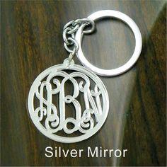 "Acrylic  Monogram Key Chain Silver Mirror Beautiful Handmade  Vine Monogram 3 Initial Keychain  - 1/8"" Thick Acrylic Keychain on Etsy, $17.99"