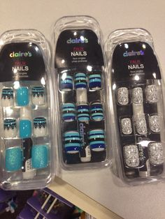 Found these awesome faux nails at Clair's ! Claire's Fake Nails, Claire's Nails, Fake Nails For Kids, Nail Art For Girls, Swag Nails, Bright Nail Designs, Oil Makeup Remover, Unicorn Nails, Fire Nails
