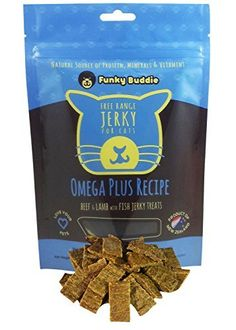 Funky Buddie Omega Plus Recipe Jerky Cat Treats Beef Lamb  Fish *** Read more reviews of the product by visiting the link on the image.(This is an Amazon affiliate link and I receive a commission for the sales)