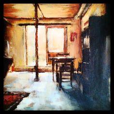 Just one burst of light   2014 Oil on canvas   250 x 250 #RosKochArt #bar #pub #drink #beer #table #interior #light #oil #paint #painting #art #artist