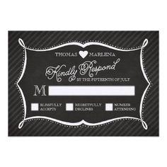 Cool! Chalkboard Typography Wedding RSVP Card
