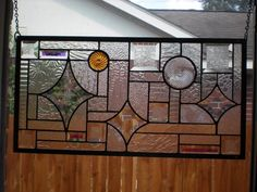 """Wandering Star Stained Glass Window Panel 22 1 2""""x 11 3 4"""" Signed Dated 