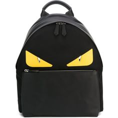 "Fendi ""Bag Bugs"" Leather Backpack ($1,530) ❤ liked on Polyvore featuring men's fashion, men's bags, men's backpacks, black and mens leather backpack"