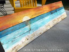 DIY: Lake Girl Paints: Sunset Beach Art from Fence Boards - Beach Decor/Sea Shells - Diy deko Sunset Beach, Beach Art, Beach Mural, Sunset Art, Art Plage, Arte Pallet, Beach Signs, Pool Signs, Lake Signs