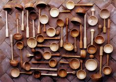 turned spoons, scoops and ladles from a variety of hardwoods, mostly fruitwoods.  Simon King woodworker
