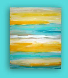 "ART Yellow Turquoise Original Abstract Painting Modern Contemporary Fine Art Gallery Canvas Titled: LEMONDROP. 30x36x1.5"" by Ora Birenbaum. $325.00, via Etsy."