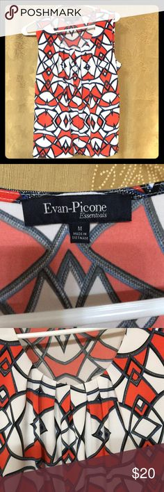 Evan-Picone . Women's sleeveless top-size M Pretty orange and navy blue design on white background. Pleated at the top. Polyester and Elastine Evan Picone Tops Blouses