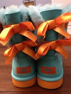 Authentic Youth UGG Bailey Bow Boots - Size 5 - Color: Blue Curacao-Marigold #UGGAustralia #Boots