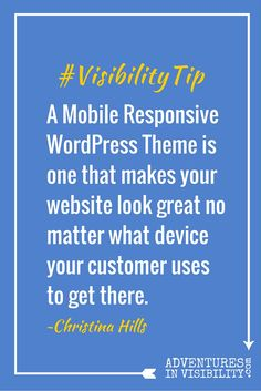 Adventures in Visibility | WordPress for Business and Visibility with Christina Hills Thursday, September 10, 2015 at 10 am PT/1 pm ET http://denisewakeman.com/watchlive