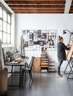 Trendy Home Studio Design Ideas Home Art Studios, Art Studio At Home, Artist Studios, Art Studio Spaces, Studio Apartments, Home Office Inspiration, Workspace Inspiration, Office Ideas, Design Inspiration