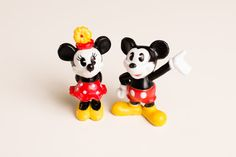 Vintage 80s Disney Toy Classic Mickey & Minnie Mouse PVC Figures