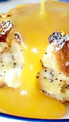 Lemon Poppyseed Cream Cheese Bread Pudding with Lemon Sauce Recipe